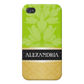 Lime Green Gold Personalized Damask iPhone 4 Case