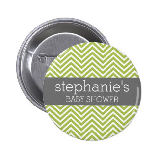 Lime Green & Gray Gender Neutral Baby Shower Suite 2 Inch Round Button