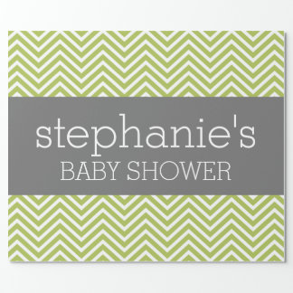 Lime Green & Gray Gender Neutral Baby Shower Suite Wrapping Paper