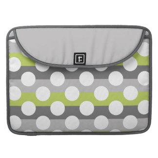 Lime Green Gray White Modern Polka Dot Pattern MacBook Pro Sleeve