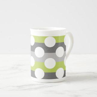 Lime Green Gray White Modern Polka Dot Pattern Tea Cup