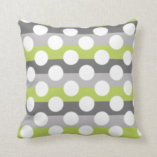 Lime Green Gray White Modern Polka Dot Pattern Throw Pillow