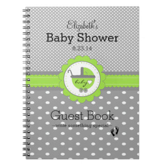 Lime Green & Grey Polka Dot Baby Shower Guest Book Spiral Note Books