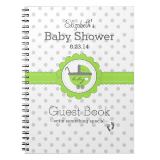 Lime Green & Grey Polka Dot Baby Shower Guest Book Spiral Notebook
