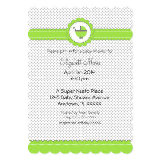 Lime Green & Grey Polka Dots-Baby Shower 5x7 Paper Invitation Card