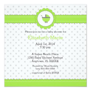 Toddler & Baby themed Lime Green & Grey Polka Dots-Baby Shower Card