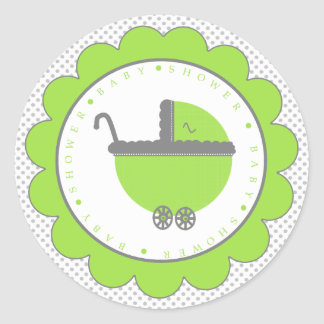 Lime Green & Grey Polka Dots-Baby Shower Classic Round Sticker