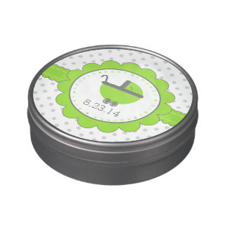 Lime Green & Grey Polka Dots-Baby Shower Favor Candy Tins