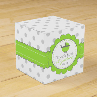 Lime Green & Grey Polka Dots-Baby Shower Favor Boxes