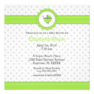 Lime Green & Grey Polka Dots-Baby Shower Announcements