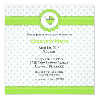 Lime Green & Grey Polka Dots-Baby Shower Invitation