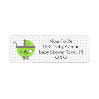 Lime Green & Grey Polka Dots-Baby Shower Label