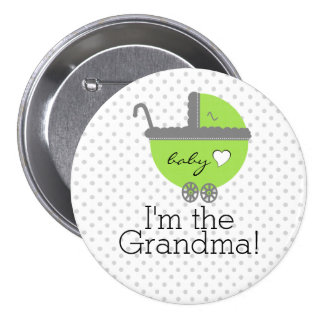Lime Green & Grey Polka Dots-Baby Shower Pinback Button