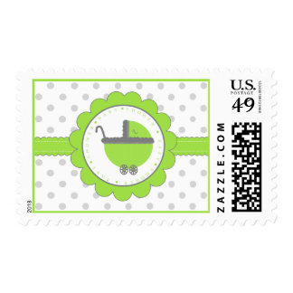 Lime Green & Grey Polka Dots-Baby Shower Postage