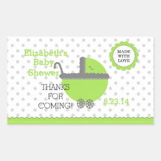 Lime Green & Grey Polka Dots-Baby Shower Rectangular Sticker