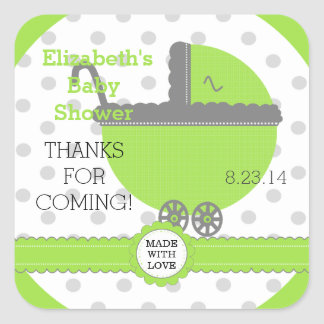 Lime Green & Grey Polka Dots-Baby Shower Square Sticker