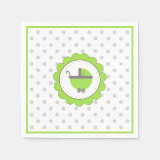 Lime Green & Grey Polka Dots-Baby Shower Disposable Napkin