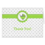 Lime Green & Grey Polka Dots-Baby Shower Thank You Greeting Cards