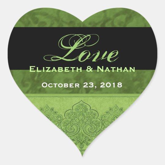 Lime Green Grunge Wedding Damask and Ribbon Heart Sticker