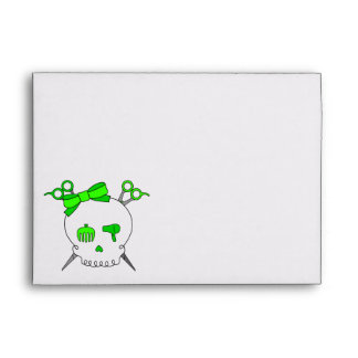 Lime Green Hair Accessory Skull Scissor Crossbones Envelope