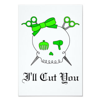 Lime Green Hair Accessory Skull Scissor Crossbones Personalized Invitation
