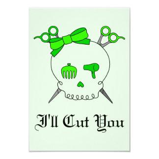 Lime Green Hair Accessory Skull Scissor Crossbones Invitations