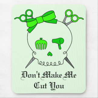 Lime Green Hair Accessory Skull Scissor Crossbones Mouse Pad
