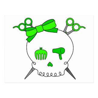 Lime Green Hair Accessory Skull Scissor Crossbones Post Cards