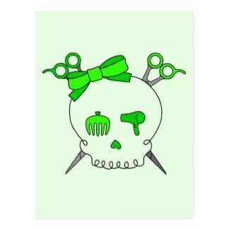 Lime Green Hair Accessory Skull Scissor Crossbones Postcards