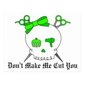 Lime Green Hair Accessory Skull Scissor Crossbones Postcard