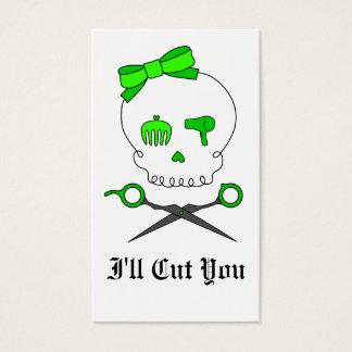 Lime Green Hair Stylist Skull & Scissor Crossbones Business Card