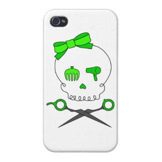 Lime Green Hair Stylist Skull & Scissor Crossbones Case For iPhone 4