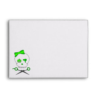 Lime Green Hair Stylist Skull Scissor Crossbones Envelope