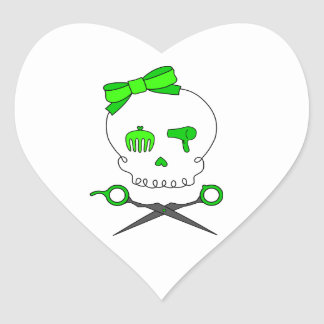 Lime Green Hair Stylist Skull & Scissor Crossbones Heart Sticker