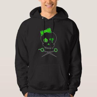 Lime Green Hair Stylist Skull & Scissor Crossbones Hoodie