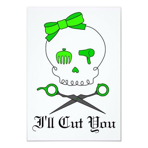 Lime Green Hair Stylist Skull & Scissor Crossbones Custom Invitations
