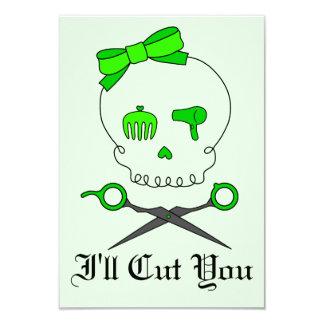 Lime Green Hair Stylist Skull & Scissor Crossbones Announcement