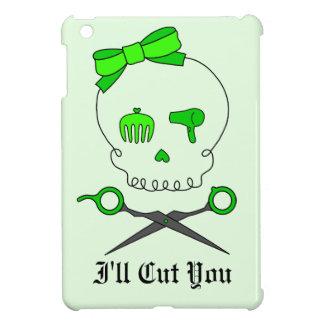 Lime Green Hair Stylist Skull & Scissor Crossbones iPad Mini Case