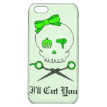 Lime Green Hair Stylist Skull & Scissor Crossbones iPhone 5C Case
