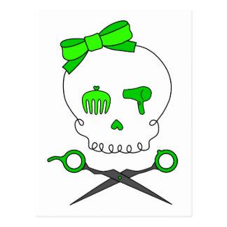 Lime Green Hair Stylist Skull Scissor Crossbones Postcard