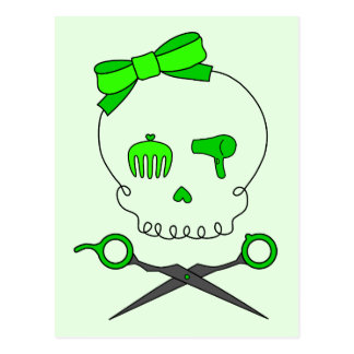 Lime Green Hair Stylist Skull Scissor Crossbones Post Card