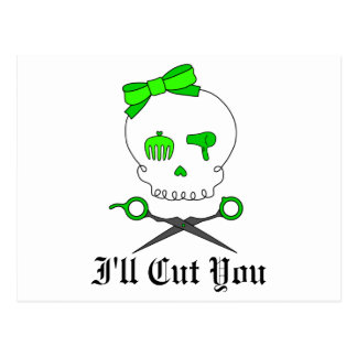 Lime Green Hair Stylist Skull & Scissor Crossbones Postcard