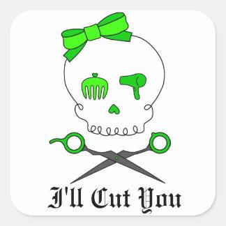 Lime Green Hair Stylist Skull & Scissor Crossbones Square Sticker