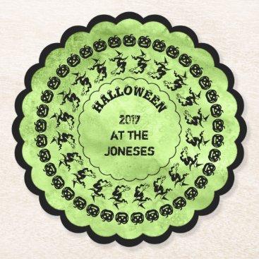 Halloween Themed Lime Green Halloween Fun Font Art Circles Paper Coaster