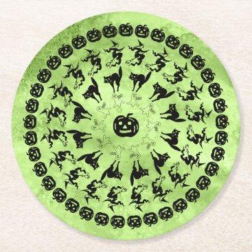 Halloween Themed Lime Green Halloween Fun Font Art Circles Round Paper Coaster