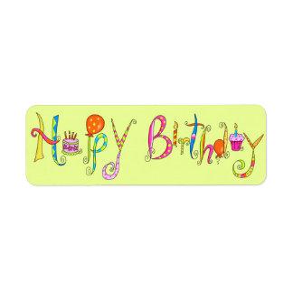 Lime Green Happy Birthday Address Label Sticker