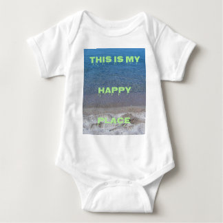 Lime Green Happy Place Phrase On Clear Lake Baby Bodysuit
