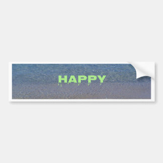 Lime Green Happy Place Phrase On Clear Lake Car Bumper Sticker