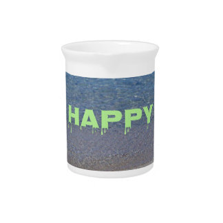 Lime Green Happy Place Phrase On Clear Lake Drink Pitcher