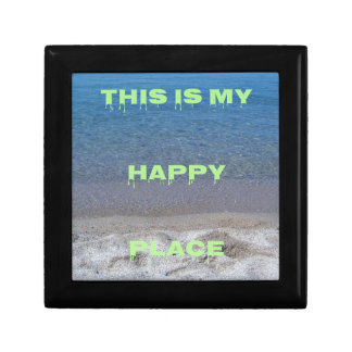 Lime Green Happy Place Phrase On Clear Lake Jewelry Box